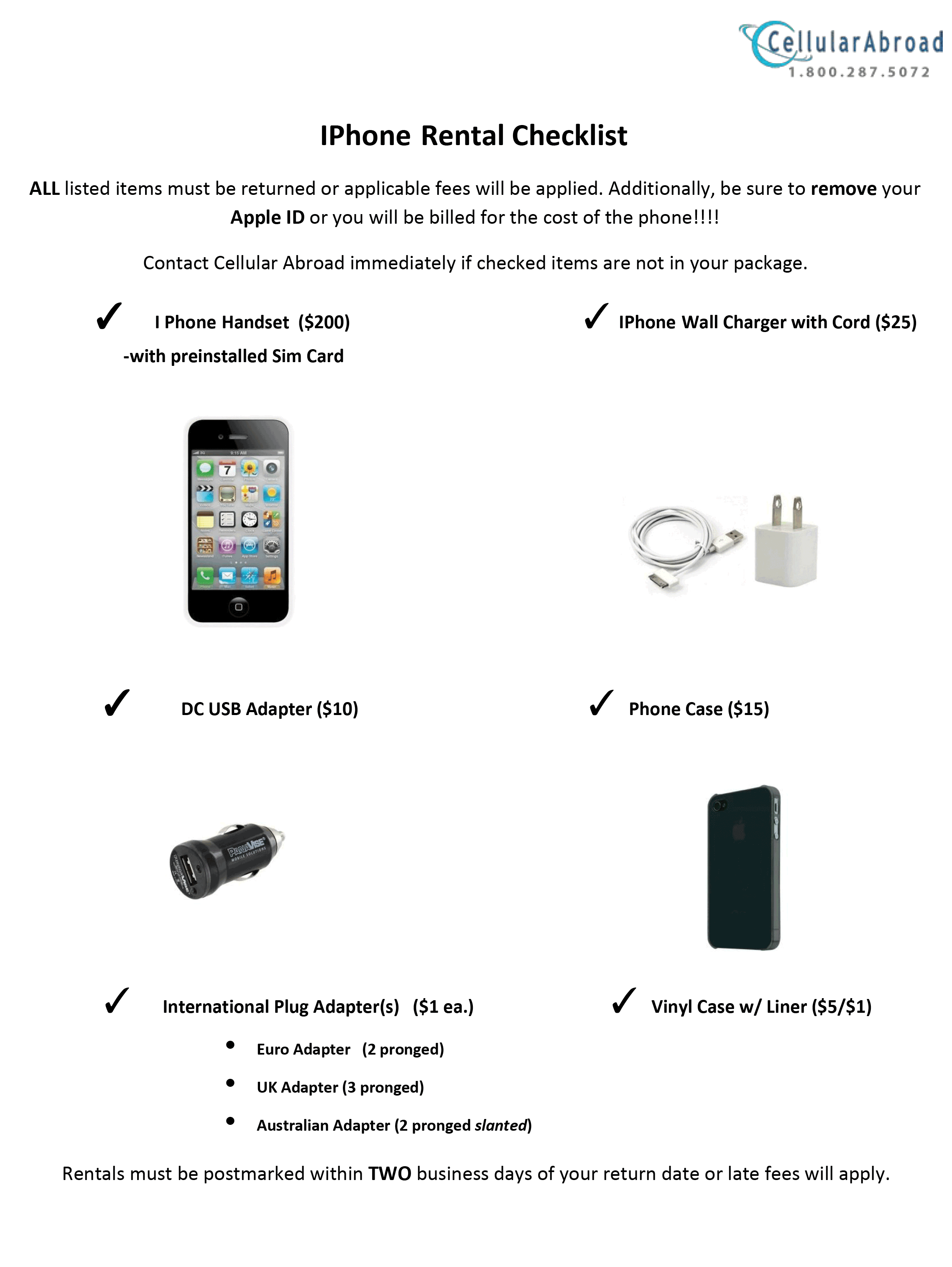 iPhone Rental Checklist