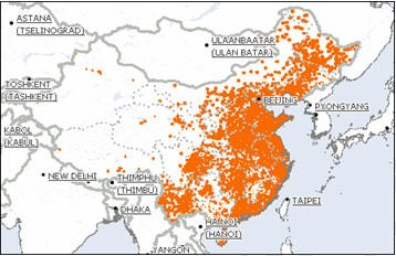 3G Coverage Map for China